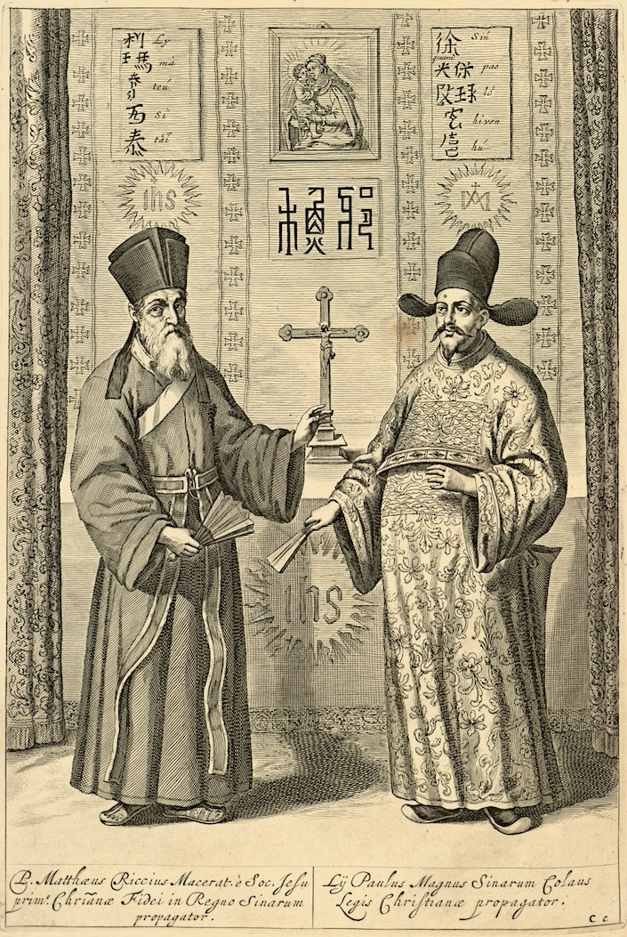 a sketch of Matteo Ricci and another missionary inin China