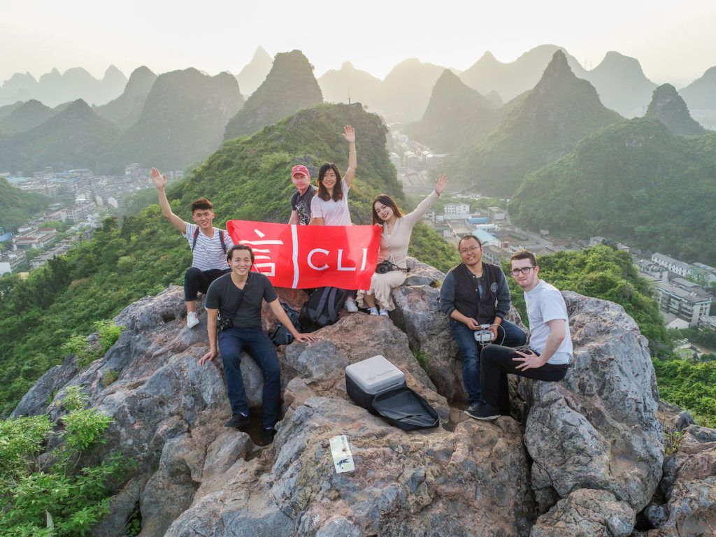 guilin mountaintops with students
