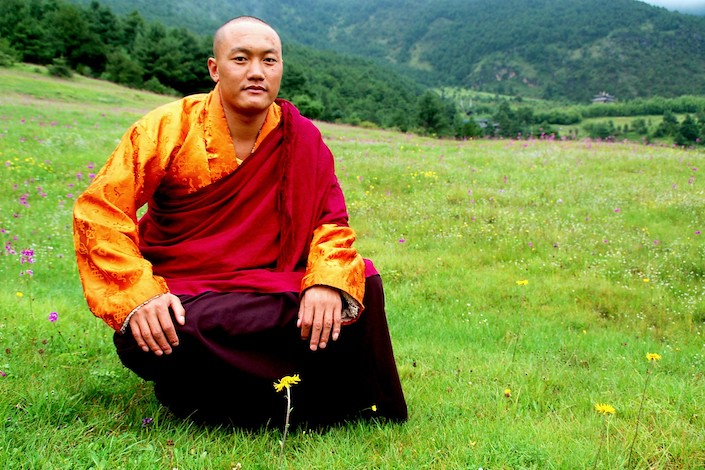 a Buddhist monk with shaved head sitting in a grassy meadow