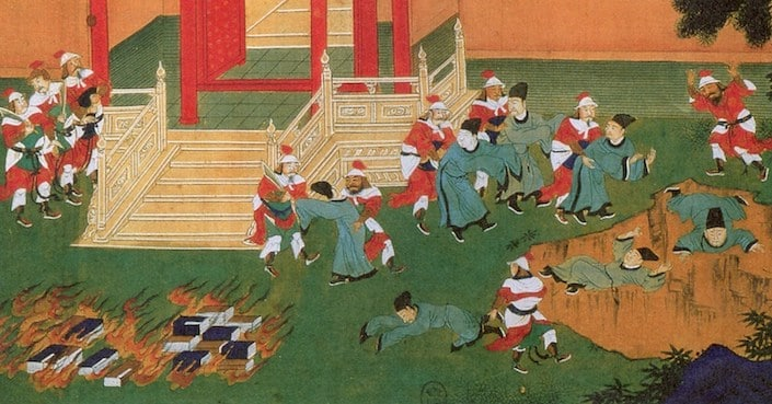 a traditional Chinese painting showing books being burned and Chinese Confucian scholars being thrown into a pit
