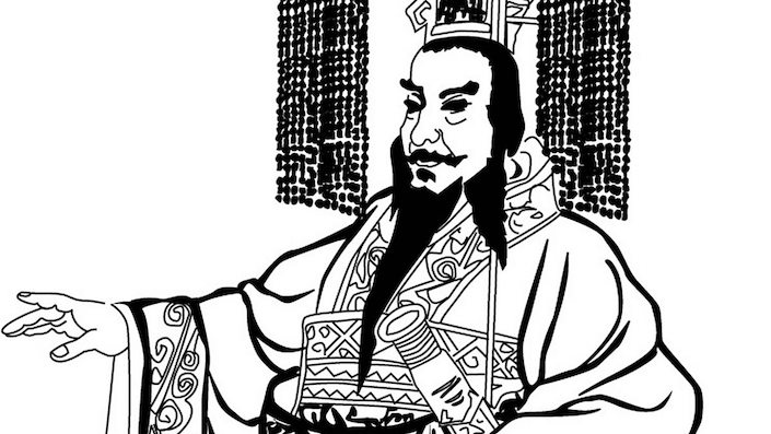 a black and white ink drawing of a Chinese emperor gesturing in front of him with one hand