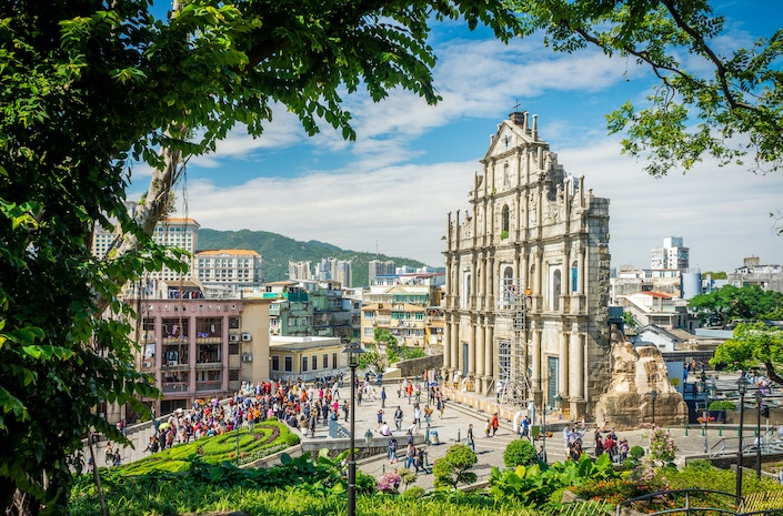 the ruins of St. Paul's Cathedral in Macau