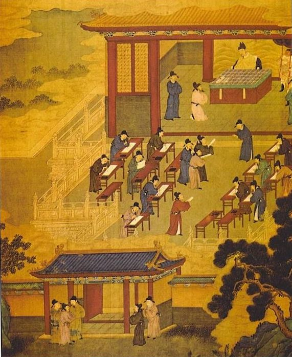 a traditional painting showing Chinese examination candidates taking the imperial examination