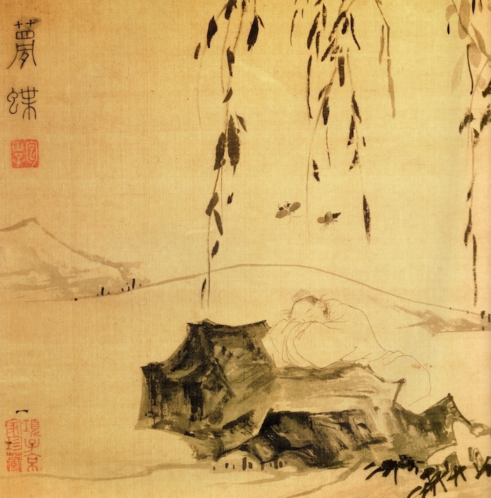 the Taoist philosopher Zhuang Zhou sleeping on a rock and dreaming that he is a butterfly while two butterflies fly overhead