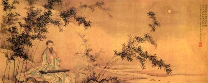 an ancient style Chinese painting showing a man playing a traditional instrument underneath a stand of bamboo