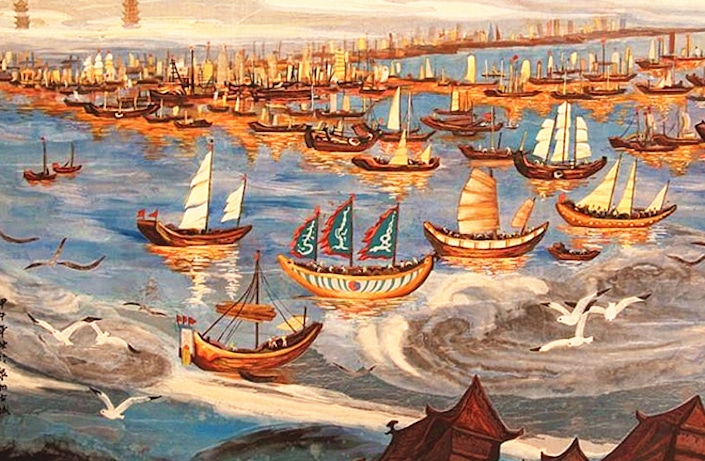 a painting of ancient ships sailing on the sea with seagulls flying in the foreground