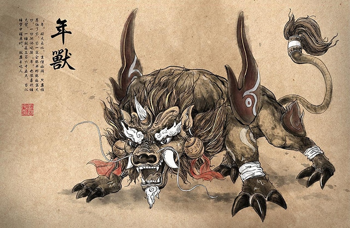 a drawing of the Chinese Nian monster