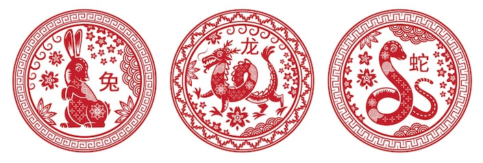 Circular red pictures of Chinese zodiac animals (rabbit, dragon and snake)