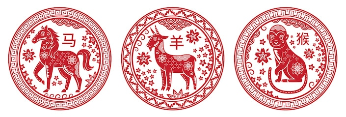 Red pictures of Chinese zodiac animals (horse, ram and monkey)