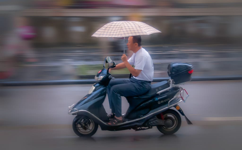 Biker with Umbrella