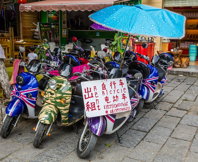 motorbikes for rent on the street in Yangshuo, China