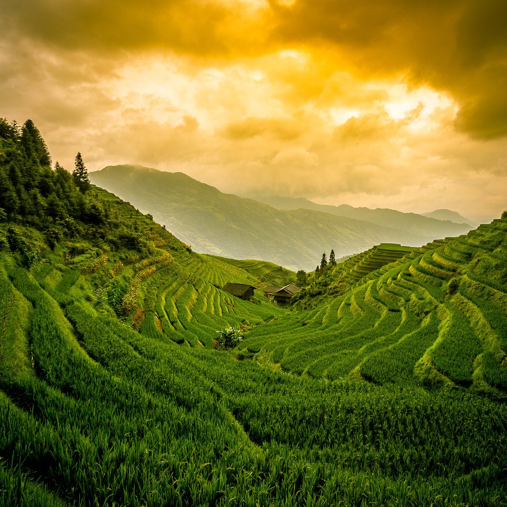 Sunset at Longji Rice Terrace
