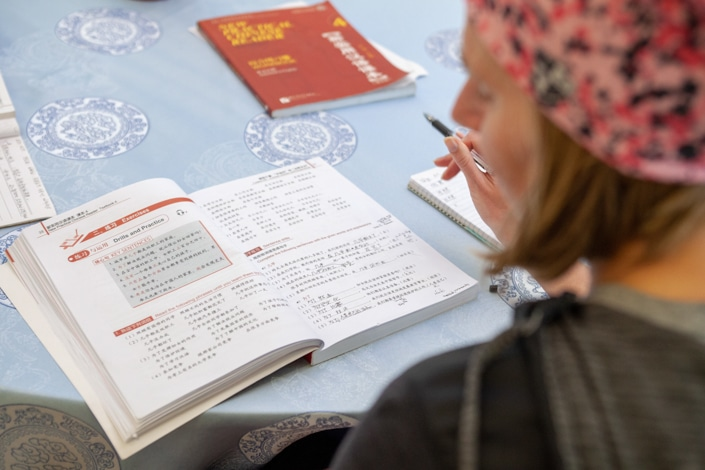 a student holding a pen studying with the help of Chinese textbooks