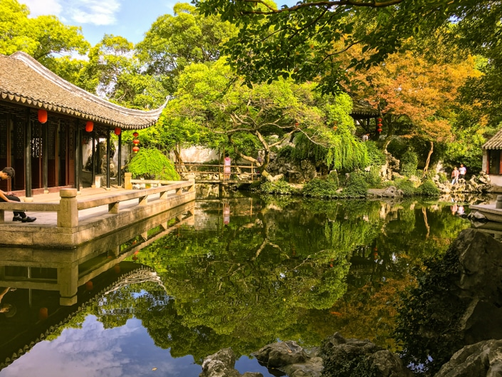 a pond in a traditional Chinese garden in Suzhou