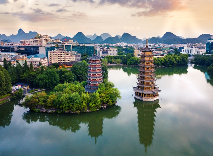 the Sun and Moon Pagodas in downtown Guilin, China
