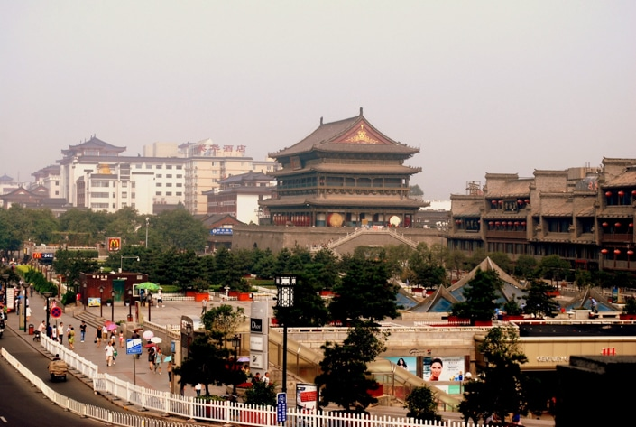 a mix of ancient and modern buildings in Xi'an, China