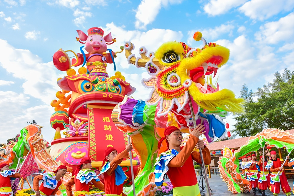 a photo of a traditional Chinese dragon dance
