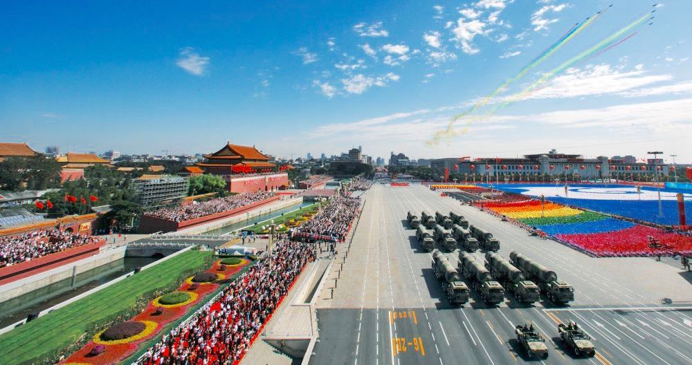 aerial photo of a military parade in Tiananmen, Beijing, China