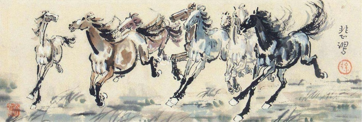 a traditional Chinese painting of a group of horses galloping