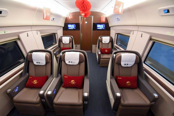 a business class cabin on a Chinese train