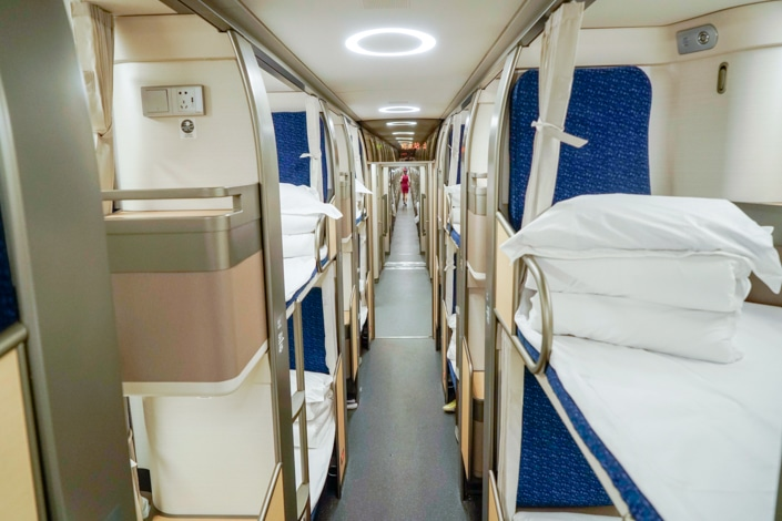 bunk beds in a Chinese fast train sleeper car