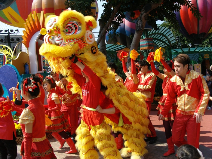 a Chinese dragon dance