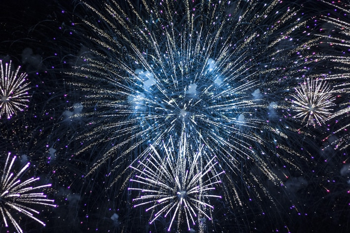 white and blue fireworks