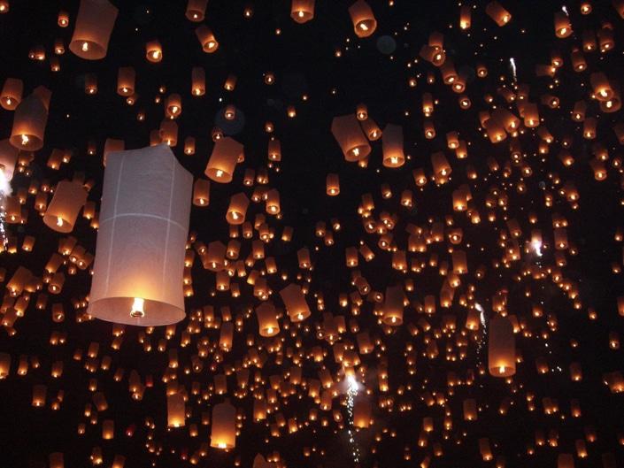Chinese floating sky lanterns