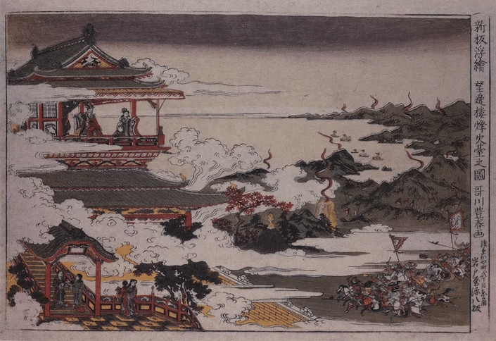 a traditional Chinese painting showing a group of soldiers on horseback riding towards a pagoda
