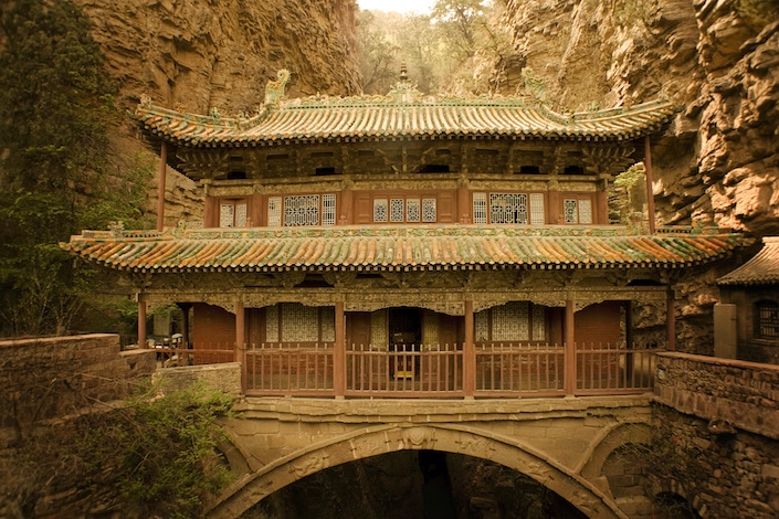 an ancient Chinese village temple