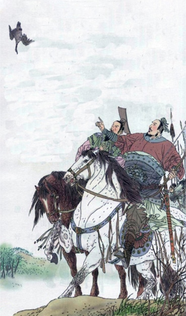 a Chinese aristocrat on horseback pointing up at a bird falling from the sky