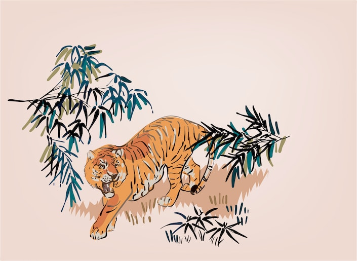 a graphic showing a tiger roaring amongst bamboo plants