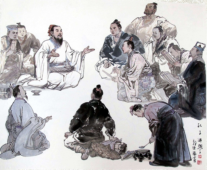 Traditional Chinese painting depicting Confucius holding class with his pupils