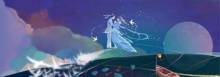 a graphic showing the Chinese legend of the Cowherd and the Weaver Girl