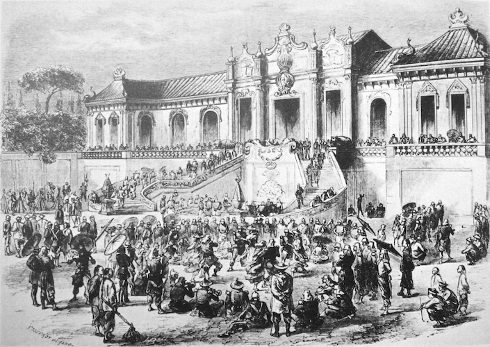 a black and white picture of people standing in front of the Western Mansions, part of the old Summer Palace