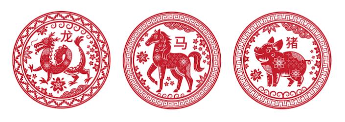 circular traditional Chinese designs depicting three Chinese zodiac animals