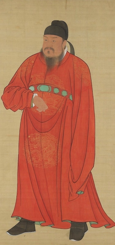 a painting of Emperor Gaozu of the Tang dynasty wearing a red robe
