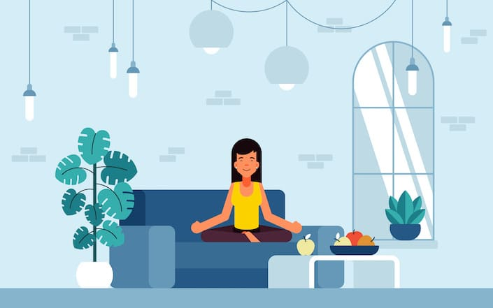 a graphic of a woman in a modern interior setting sitting on a blue sofa in a meditation pose