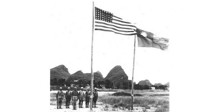 black and white photo of American air force personnel based in Guilin