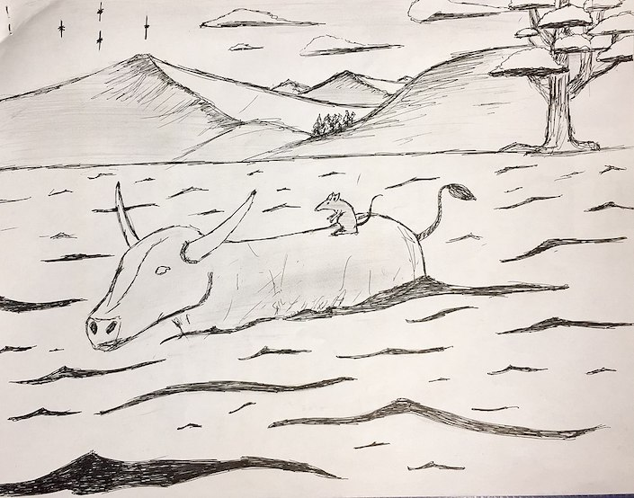 a pencil drawing of an ox crossing a river with a rat on its back
