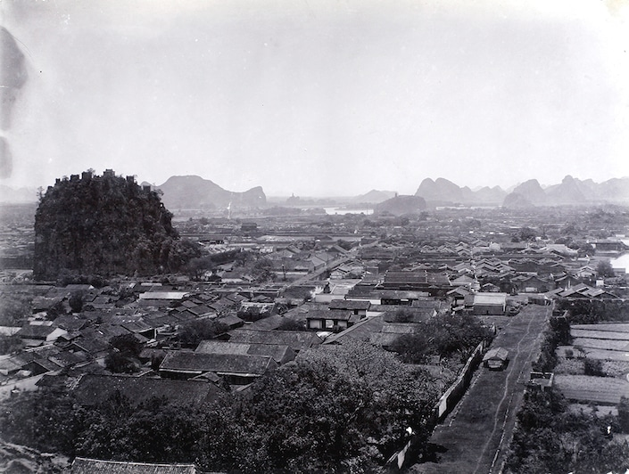 black and white photograph of old Guilin