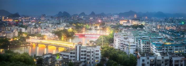 photo of modern Guilin at dusk