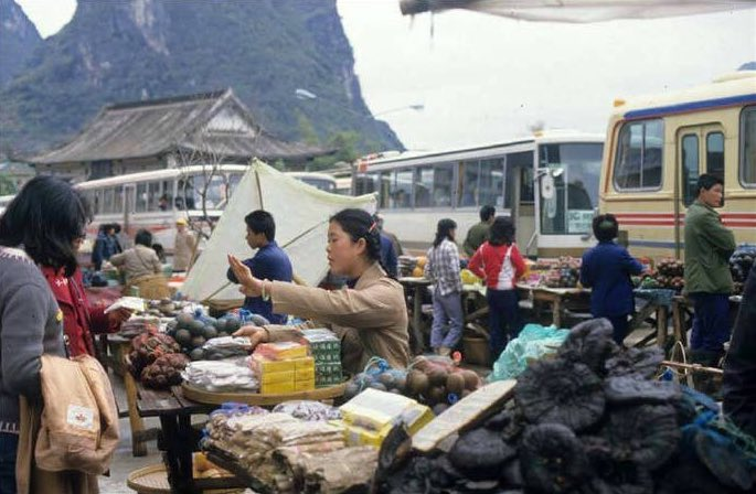 historic photo of a market in Guilin