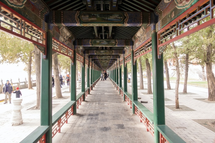 a photo of the Long Corridor in the Summer Palace, Beijing, China