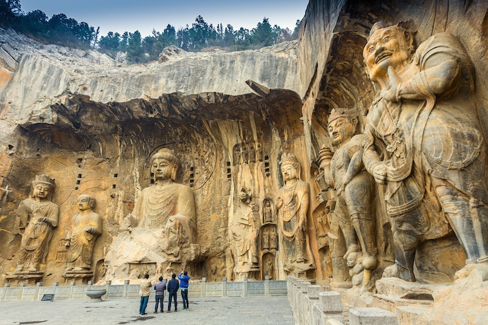 Buddhist statues at the Longmen Grottoes in China