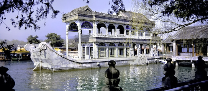 a photograph of the Marble Boat in Kunming Lake, the Summer Palace
