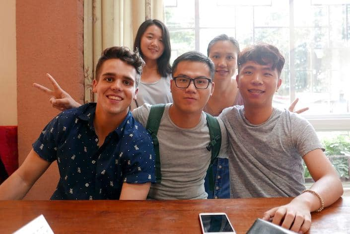 a CLI student with four Chinese students