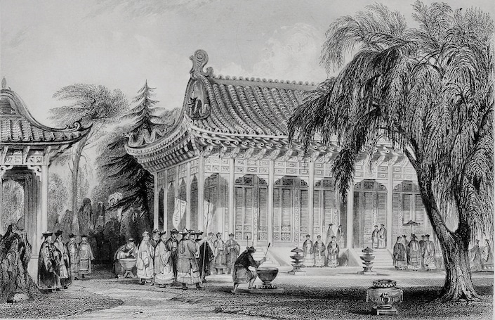 a black and white drawing of traditional Chinese buildings