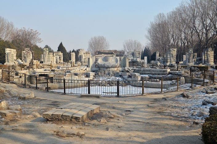 a photo of the ruins of the old Summer Palace in Beijing