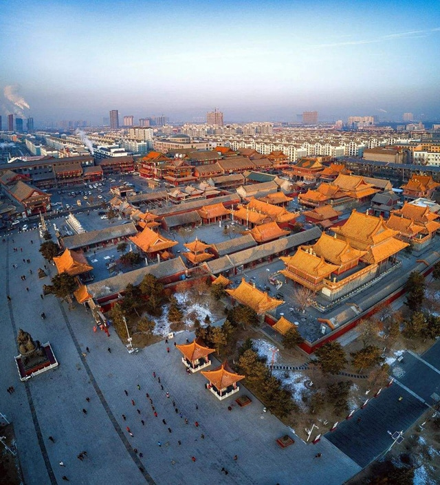 yellow roofed traditional Chinese buildings in Shenyang, China